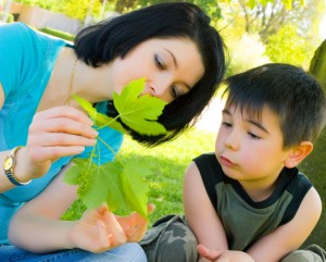 mother and son, nature, leaf, park